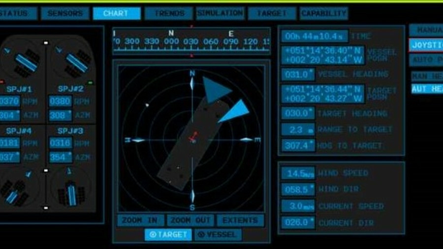 Reygar's StemTide DP graphical user interface display vessel position and heading