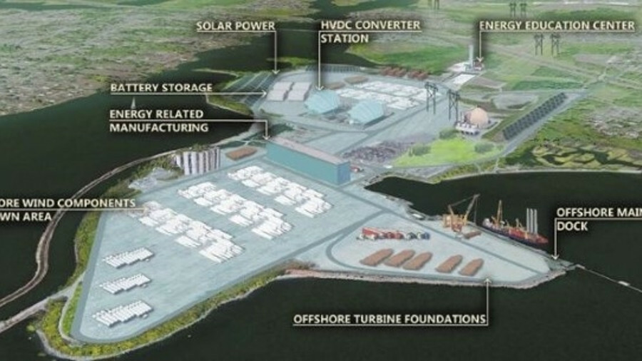 X Artist's impression of the offshore wind hub that is to be built at the site of the former Brayton