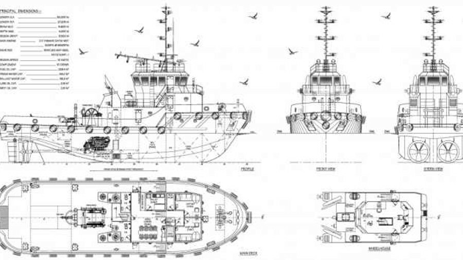 General arrangement of 30-m harbour tugs that Tang Tiew Hee & Sons is constructing