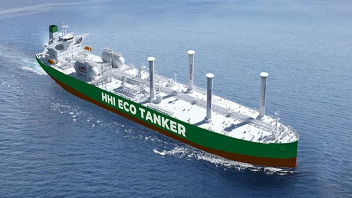 Eco-tanker design uses VOC, LNG and rotor sail to reduce emissions