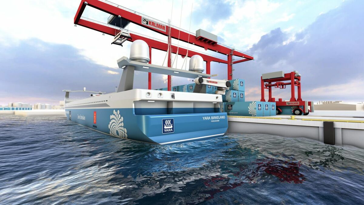 Macgregor will help develop solutions for cargo handling (Pictured: Rendering of a Macgregor built automated mooring system and all-electric automous ship Yara Birkeland; image: Macgregor/Yara)