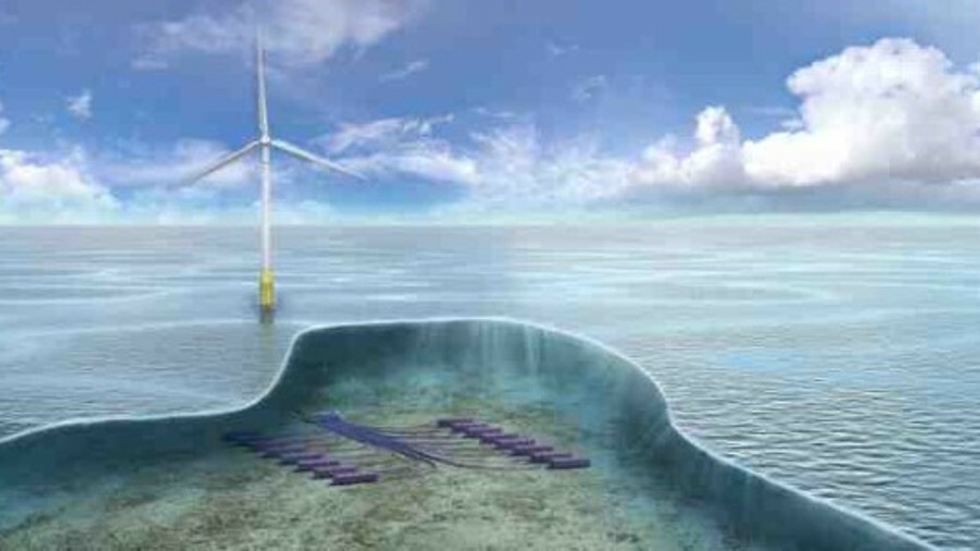 X Windfarm-generated electricity could be converted to hydrogen and stored on the seabed (credit: Te