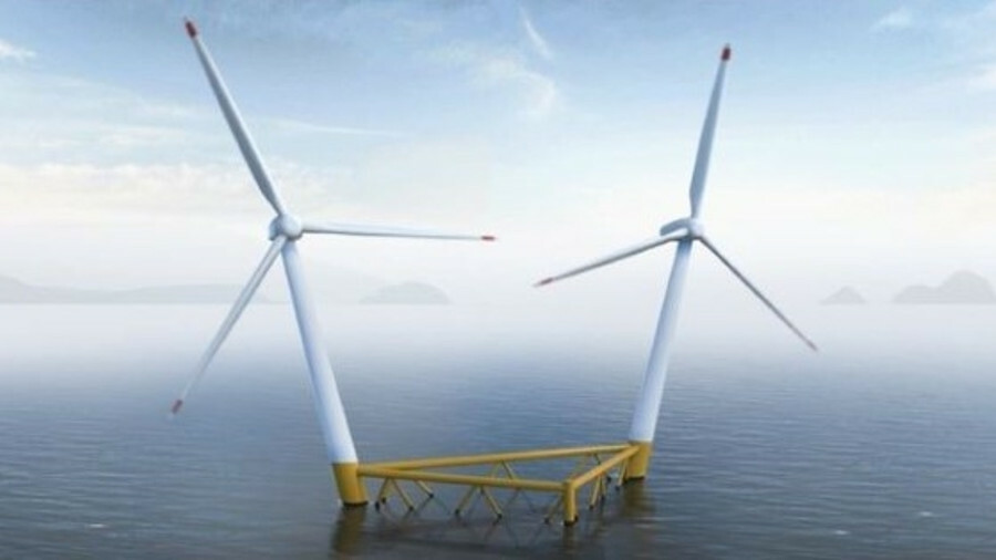 The floating windfarm Shell and CoensHexicon will develop will use Hexicon AB's twin-turbine concept