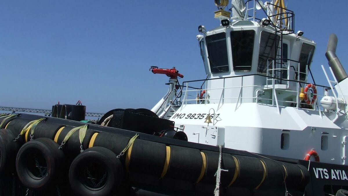 VTS Ayia Marina is a Damen ASD 2310 harbour tug with 48.8 tonnes of bollard pull ahead