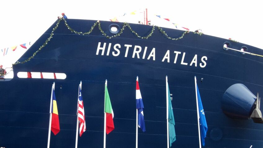 Unveiling the name at the Santierul Naval Constanta shipyard in Romania