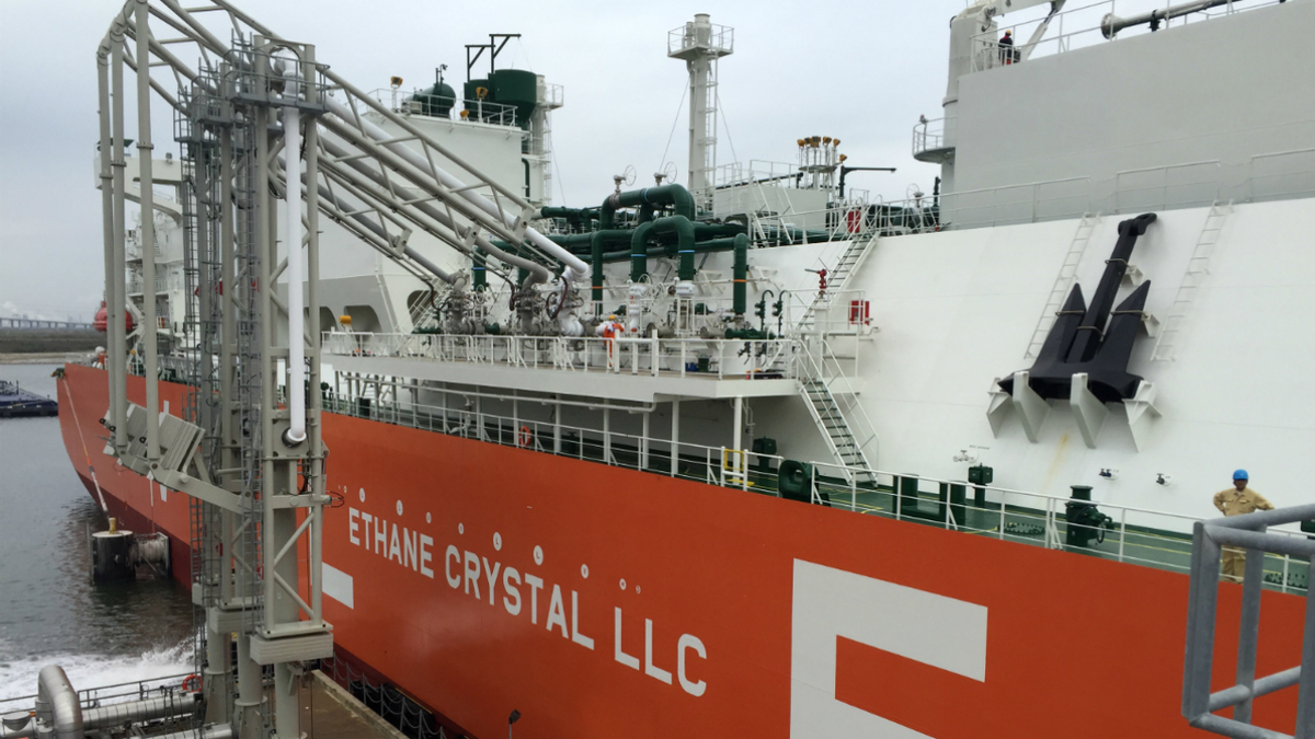 MOL's Ethane Crystal, world's first VLEC, loads ethane cargo in Houston, Texas (image: ABS)