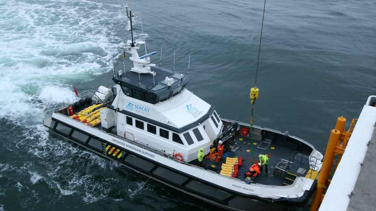 Software monitors contact between a Seacat CTV and a wind turbine foundation in the UK