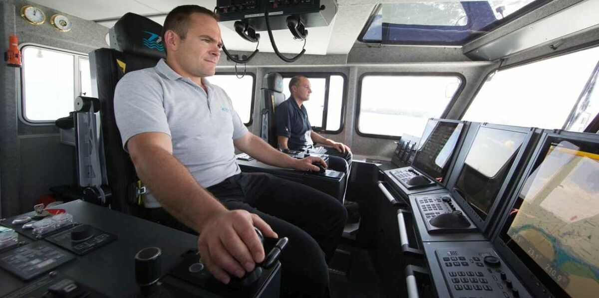 Ian Baylis is at the helm of a Seacat crew transfer vessel