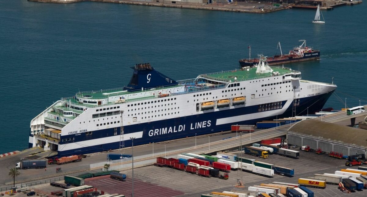Two Grimaldi ferries have been retrofitted with 'mega batteries' (credit: Tony Hiskett)