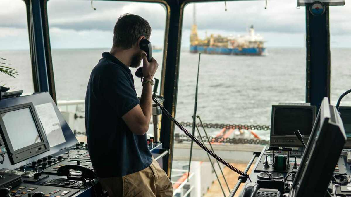 GNS VOIP call from the bridge of an OSV near an FPSO