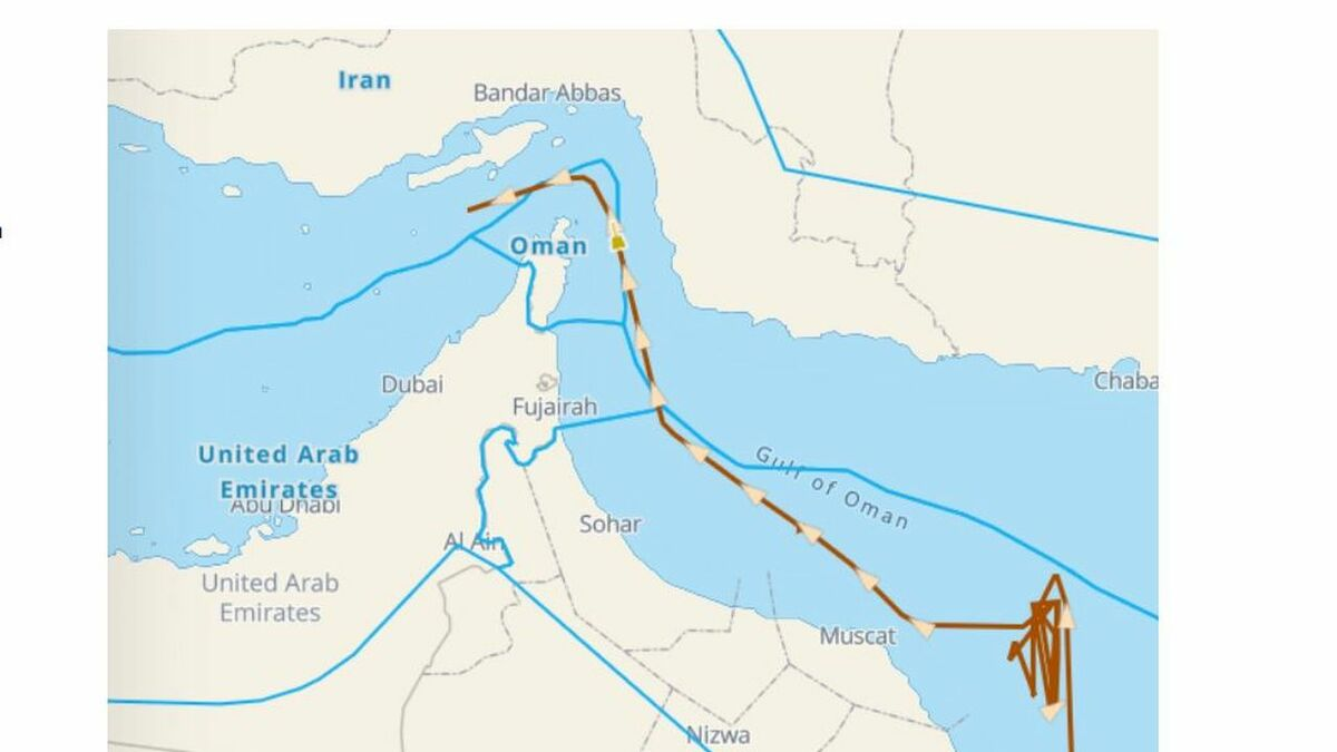 LNG tanker drifts in Omani waters, before speeding towards the Strait of Hormuz (source: Windward)