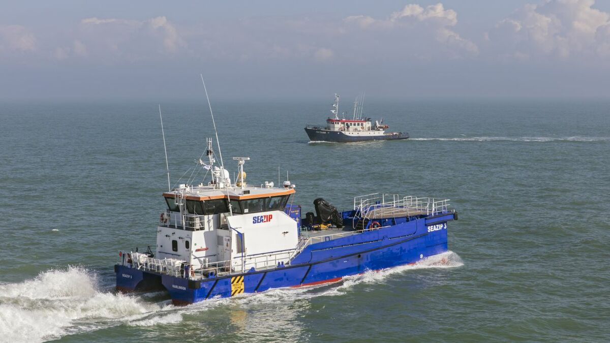 SeaZip 3 interacts with training vessel Octans during autonomous trials in the North Sea