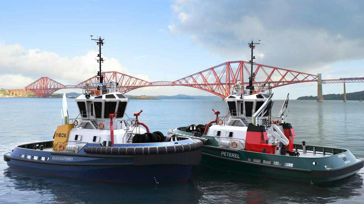Artist's impression of Sanmar tugs being built for Targe Towing and Ineos
