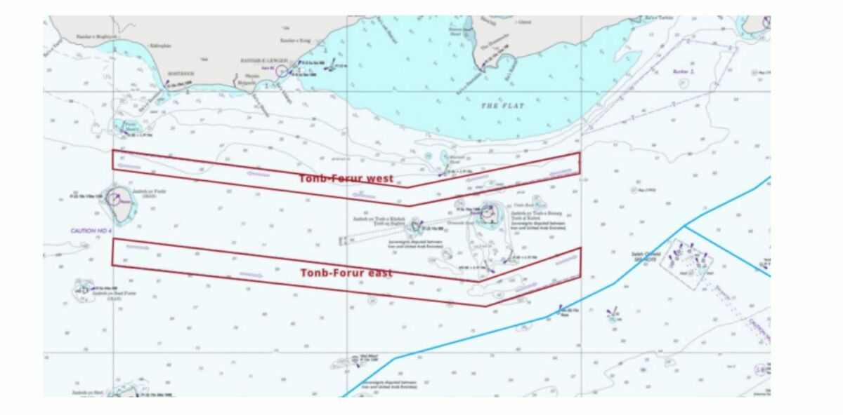 Nautical chart showing established traffic separation schemes in the Gulf (source: Windward)
