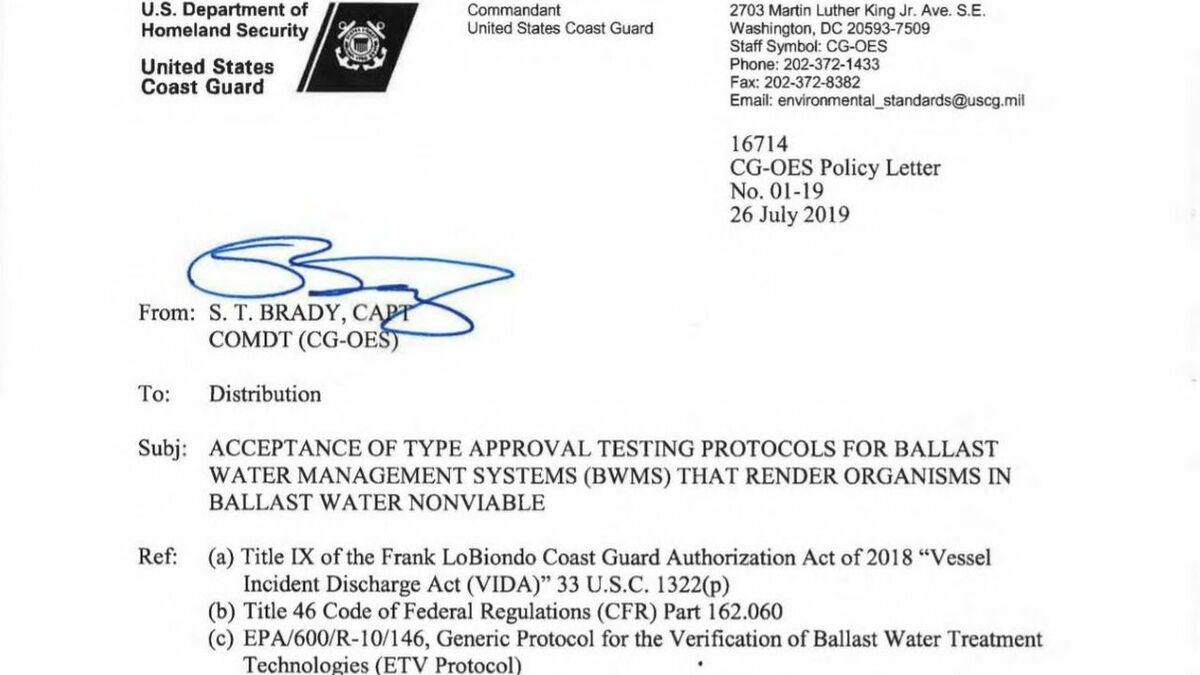 The draft letter from the USCG on its VIDA Act requirements