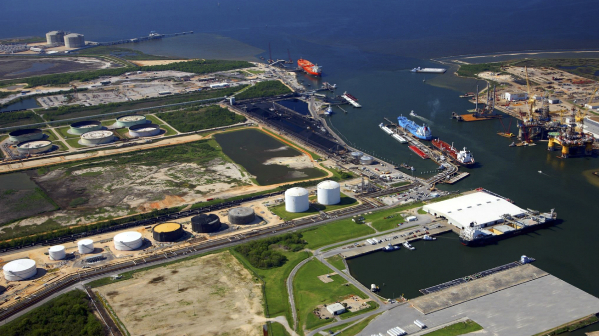 Located at the Port of Pascagoula, Gulf LNG (shown at top left), will begin exporting LNG in 2024