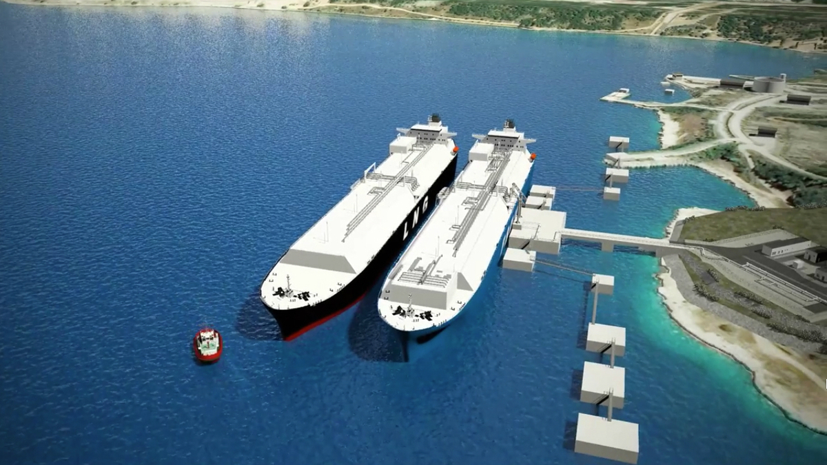 Artist's rendering shows LNG carrier unloading at LNG Croatia's FSRU