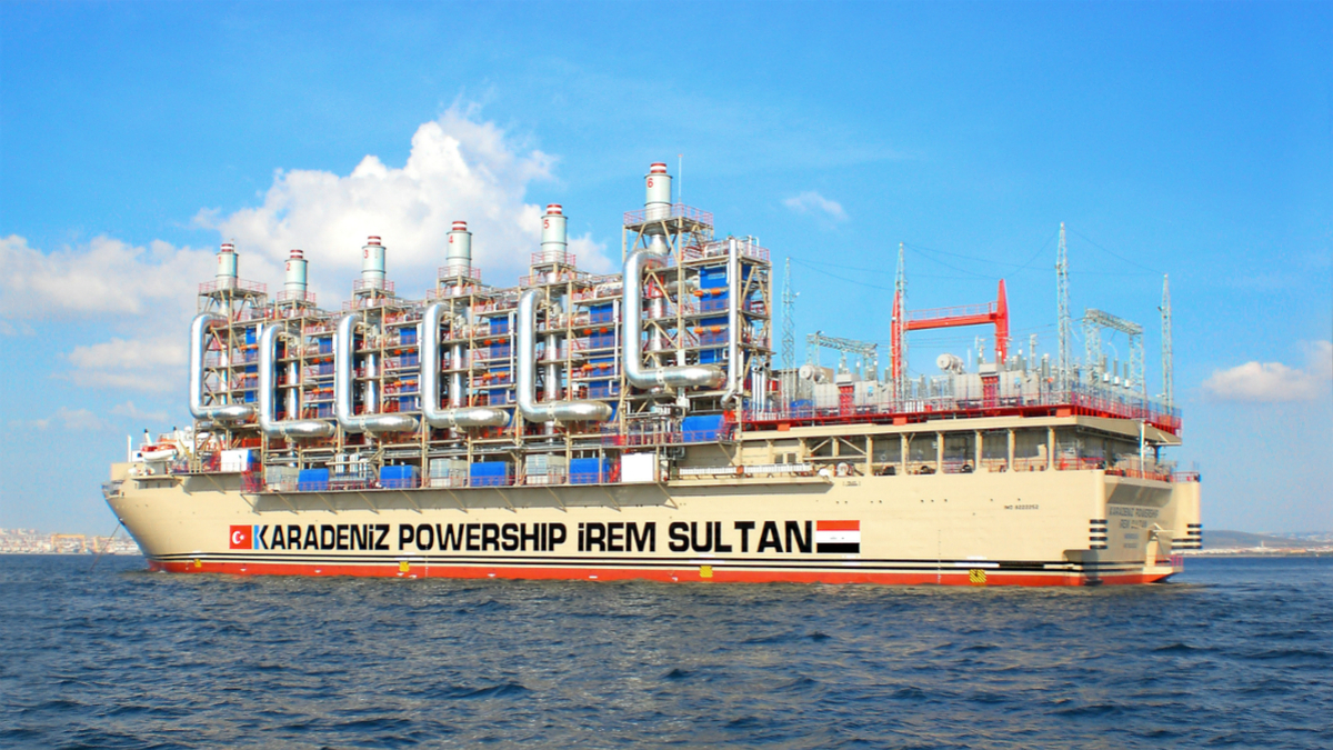 Burning heavy fuel, Karadeniz Powership Irem Sultan supplies electricity to Mozambique's power grid