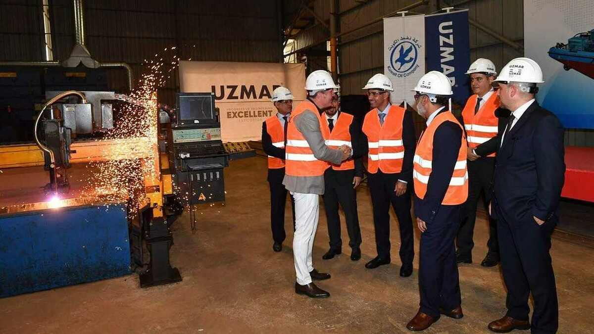 Uzmar's steel cutting ceremony for a new KOC oil spill response and towage vessel