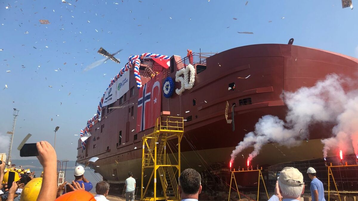 Fjord1 newbuild moves forward with hull launch