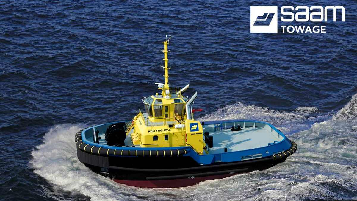 An artist's impression of a Damen ASD 2813 tug being built for SAAM