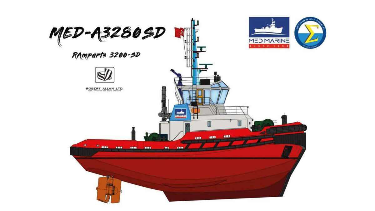 MED-A3280SD: Med Marine/RAL new shallow draught tug design