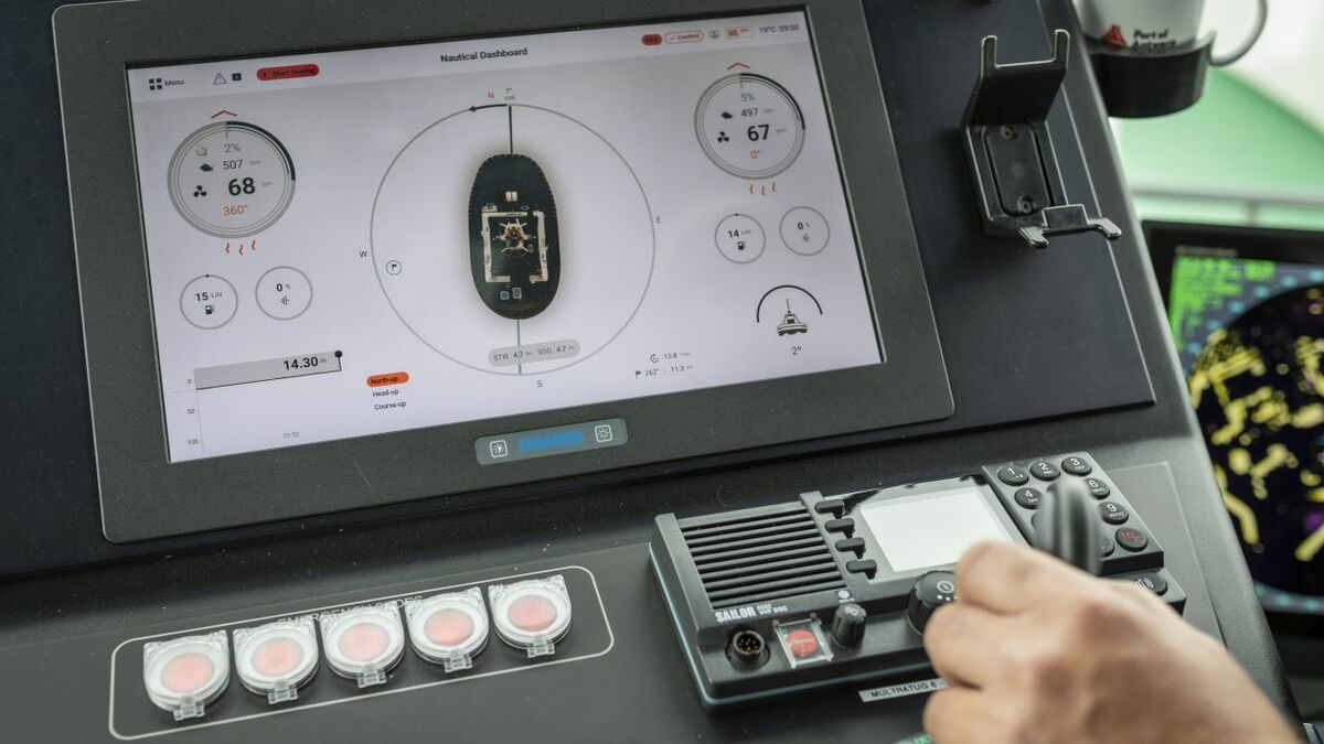 Damen's HMI nautical dashboard highlights heading, speed, fuel consumption and heeling angle