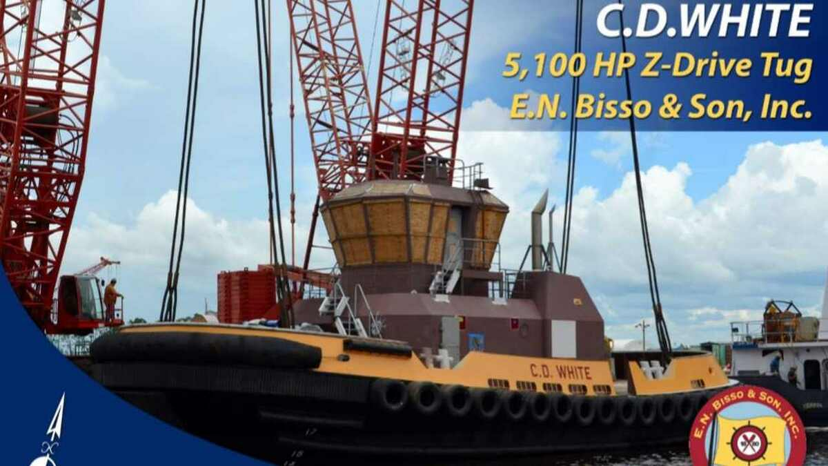 Eastern Shipbuilding launched tugboat CD White for Bisso Offshore