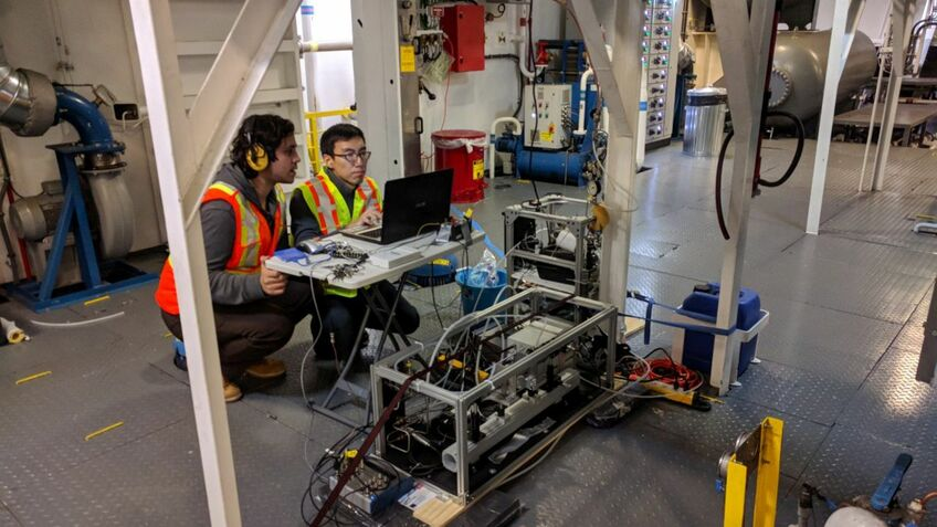 University of British Columbia researchers use a methane sensor to measure methane slip