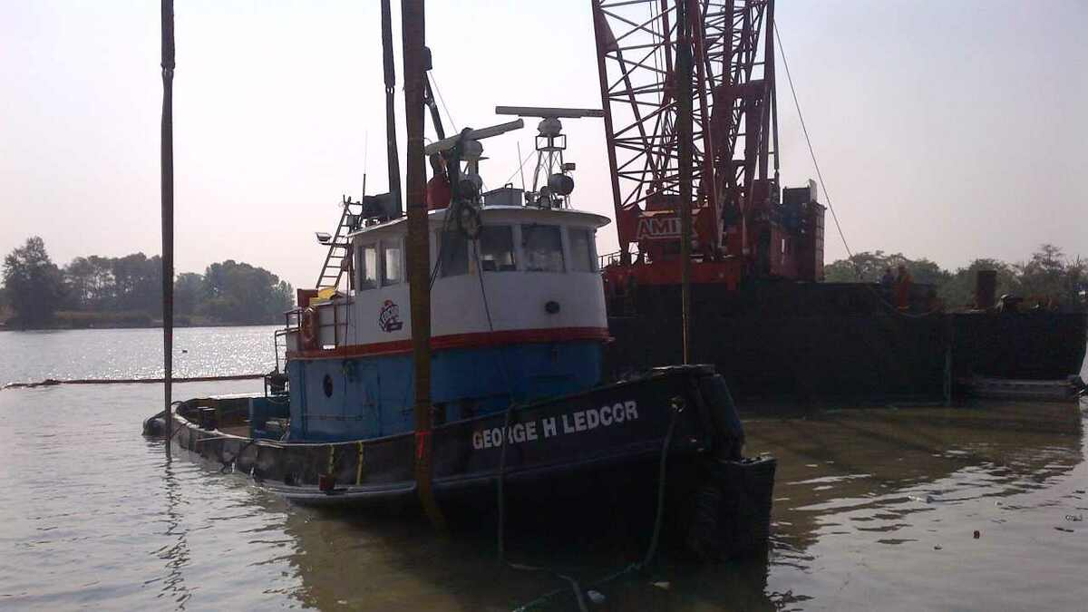George H Ledcor tugboat was raised from Fraser River after capsizing (source:Canadian Coast Guard)