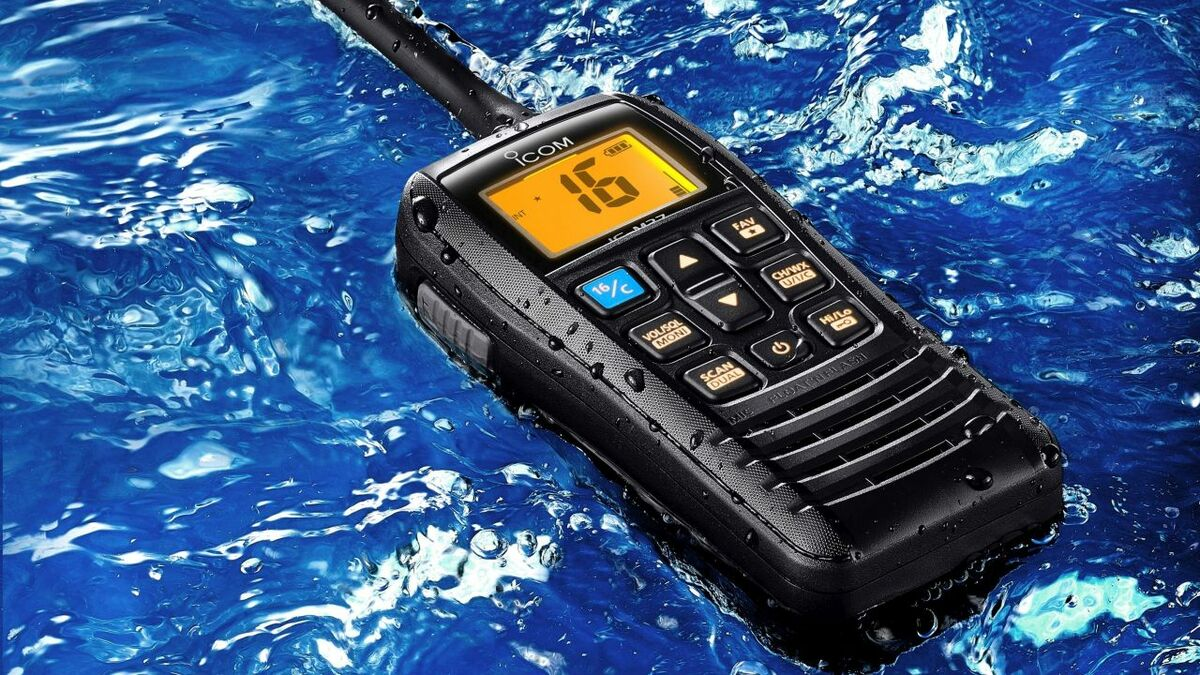 Icom's IC-M37 VHF handheld is buoyant and has AquaQuake for dispersing water