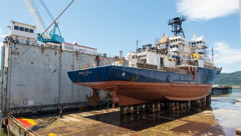 R/V Roger Revelle is undergoing a full repower at Vigor Shipyard in Portland, Oregon