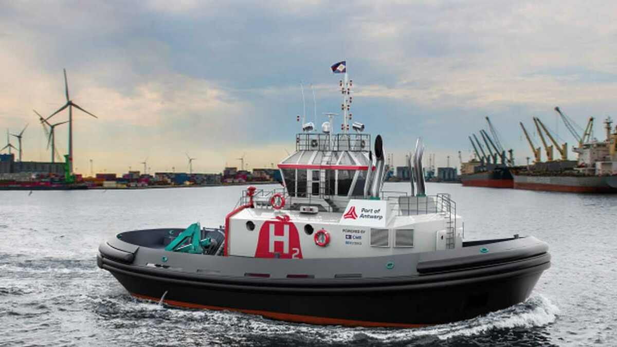 Design of Hydrotug in Port of Antwerp, Belgium, this will be the first hydrogen-powered tug