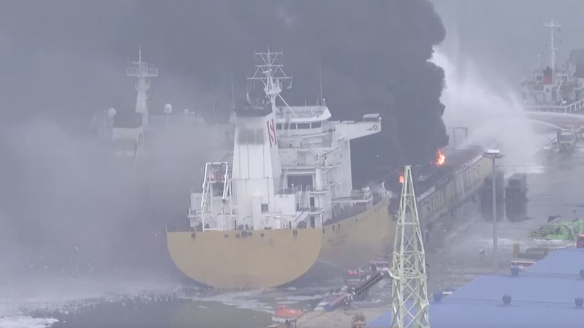 Explosion, fire hits tankers in South Korean port before being extinguished