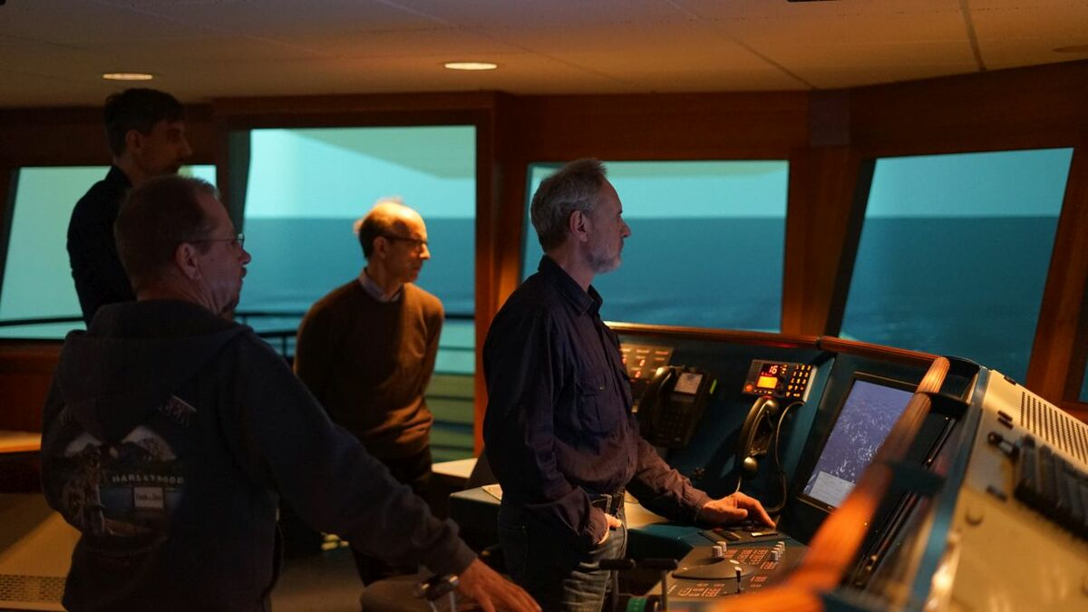 CPO officers test their navigation skills at the Maritime Simulation Centre (credit: Ortwin Muehr)