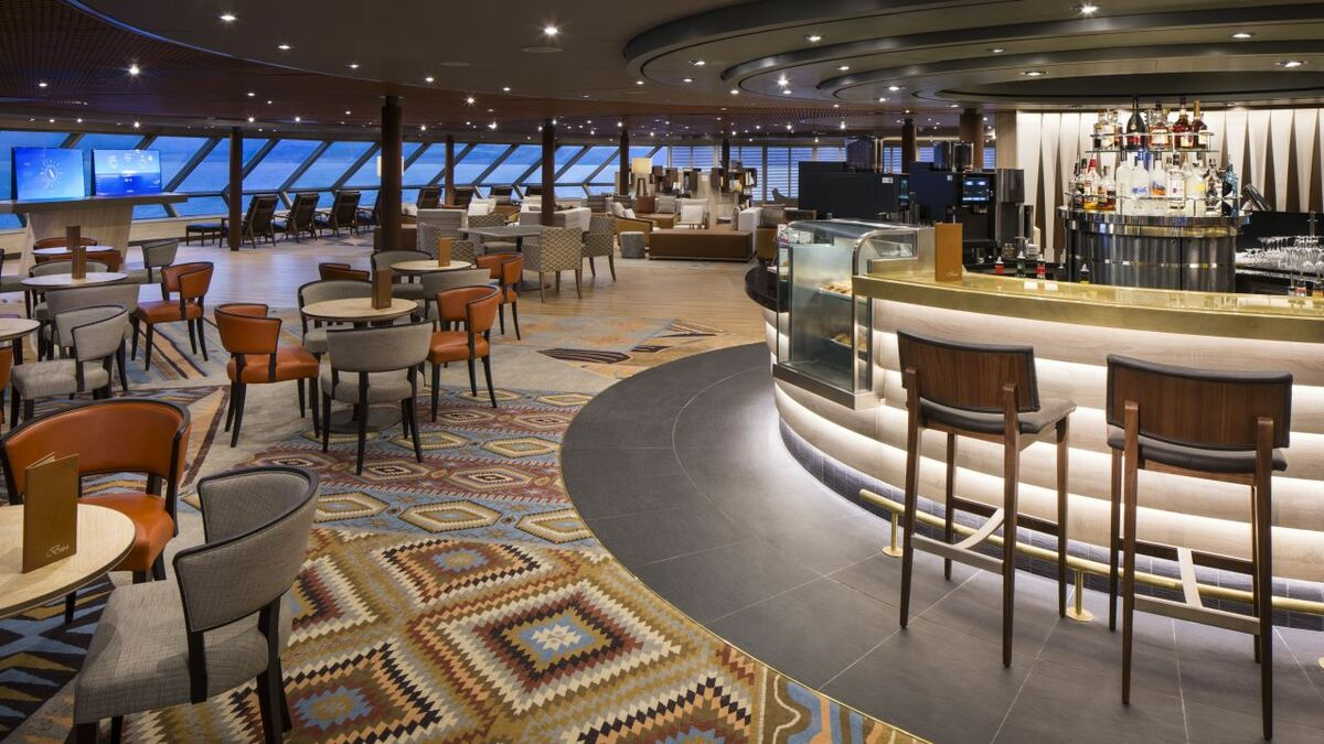 Exploration Central offers a lounge, bar and kiosks for guests to learn about cruise destinations