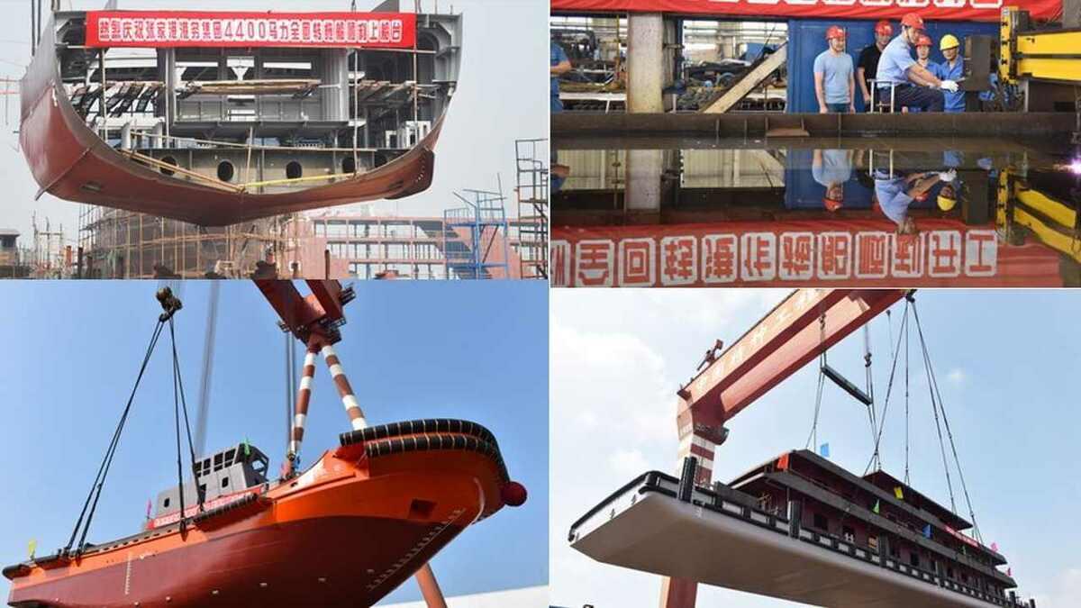 Jiangsu Zhenjiang Shipyard tug construction activity in September 2019