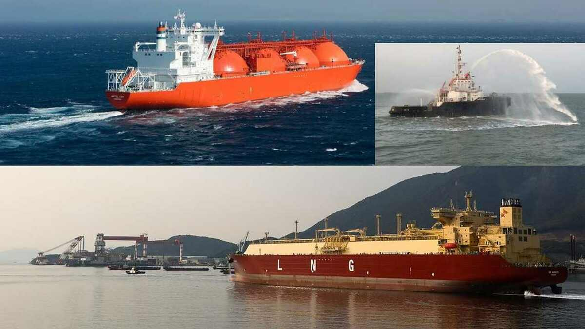 Total LNG carriers and terminal operations (insert: Adani tug tests FiFi systems in Dhamra, India)