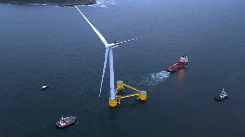 The first WindFloat Atlantic turbine is towed towards its destination