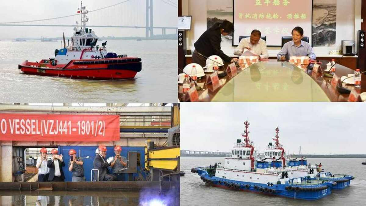 ZJ Shipyard: ASD tug, COSCO pusher tugs, vessel steel cutting and contract signing