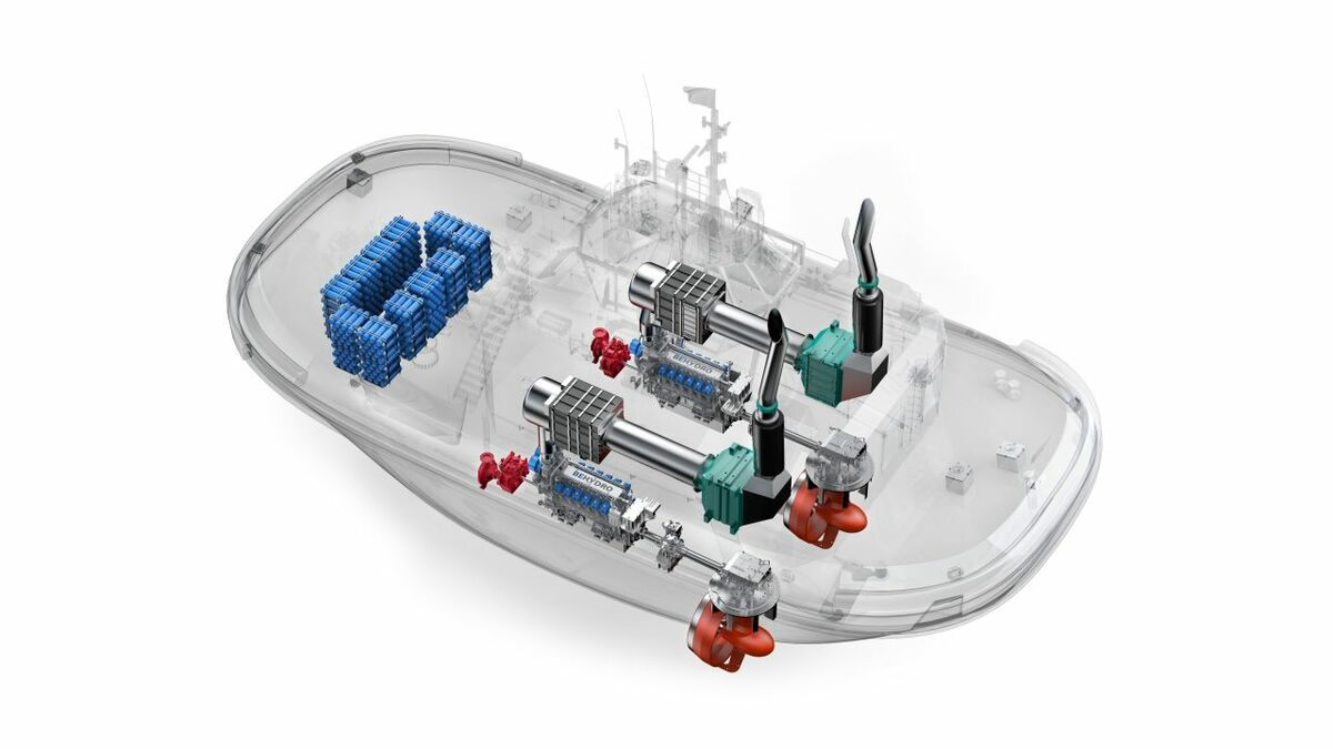 A schematic explaining the engine layout of the Hydrotug