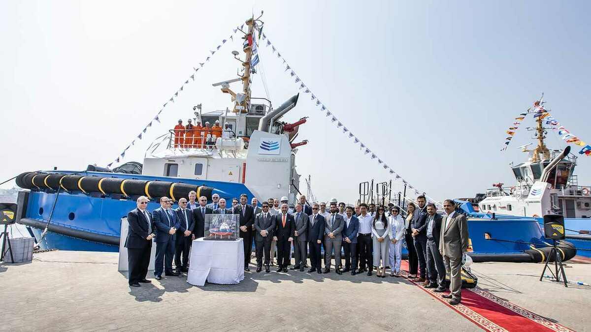 A ceremony celebrates Jawar Al Khaleej taking delivery of new tugs from Albwardy Damen