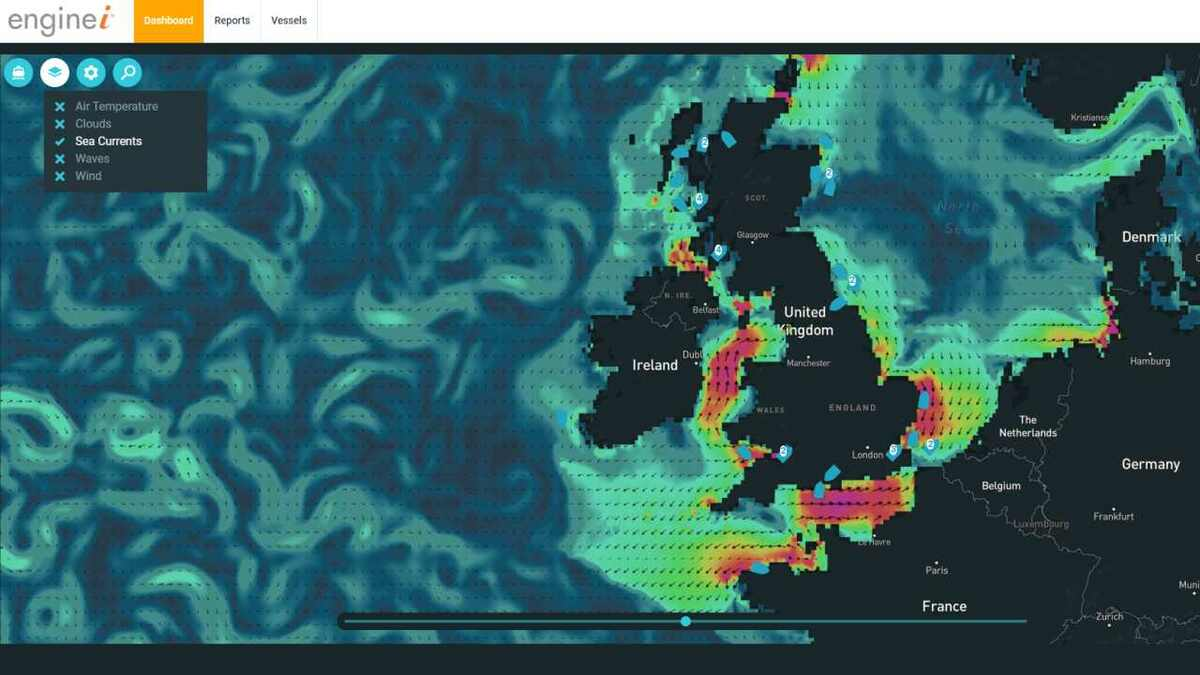 Screenshot of Tidetech ocean and sea current data on Royston's energei display