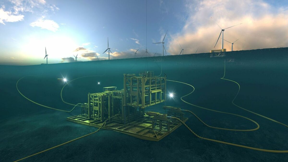Artist's concept of a floating windfarm from Aker Solutions