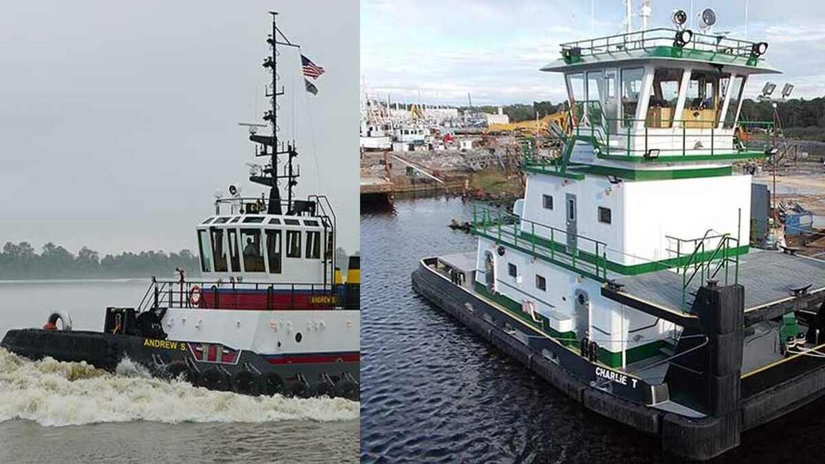 (l-r) Bisso's Andrew S ASD tug and Osage's Charlie T tugboat delivered