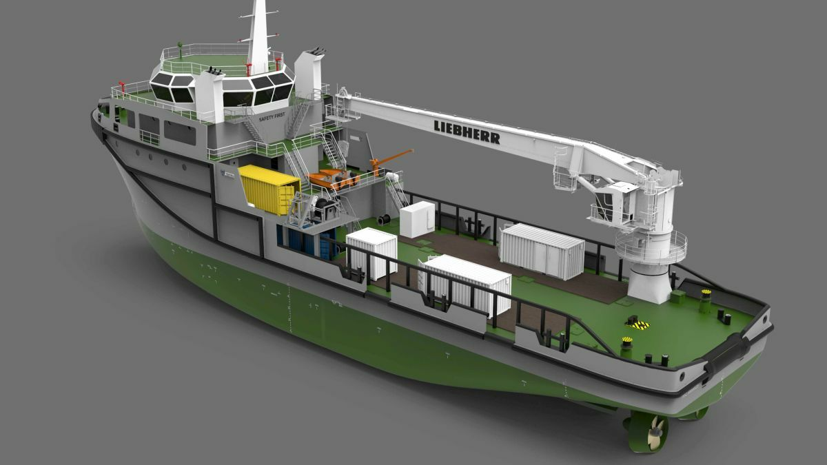 The multipurpose vessel will carry an RL 1500 ram-luffing crane (image: Liebherr)