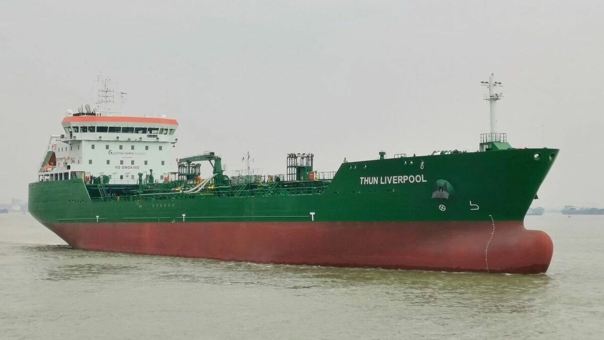 Thun Tankers has taken delivery of Thun Liverpool in China (credit: Thun Tankers)