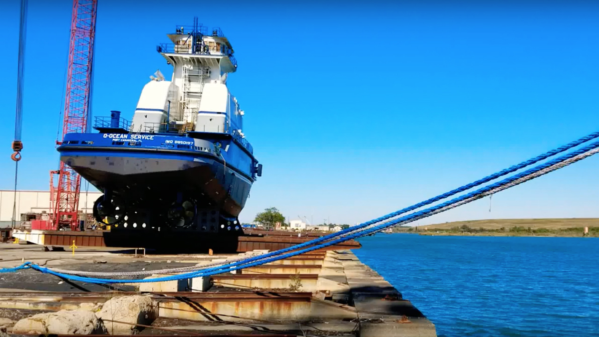 Ocean tug launched for first US LNG bunker ATB unit
