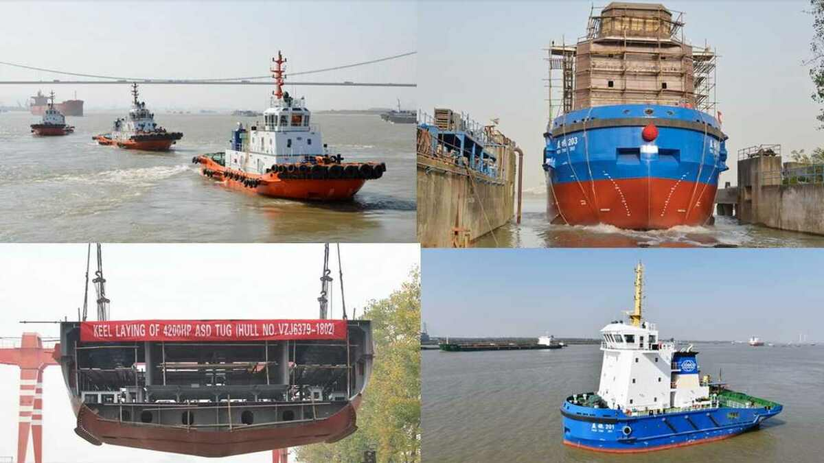 (l-r) three ASD tugs are delivered, Yi Tuo 104 is launched, Yi Tuo 201 sets sail and keel is laid on