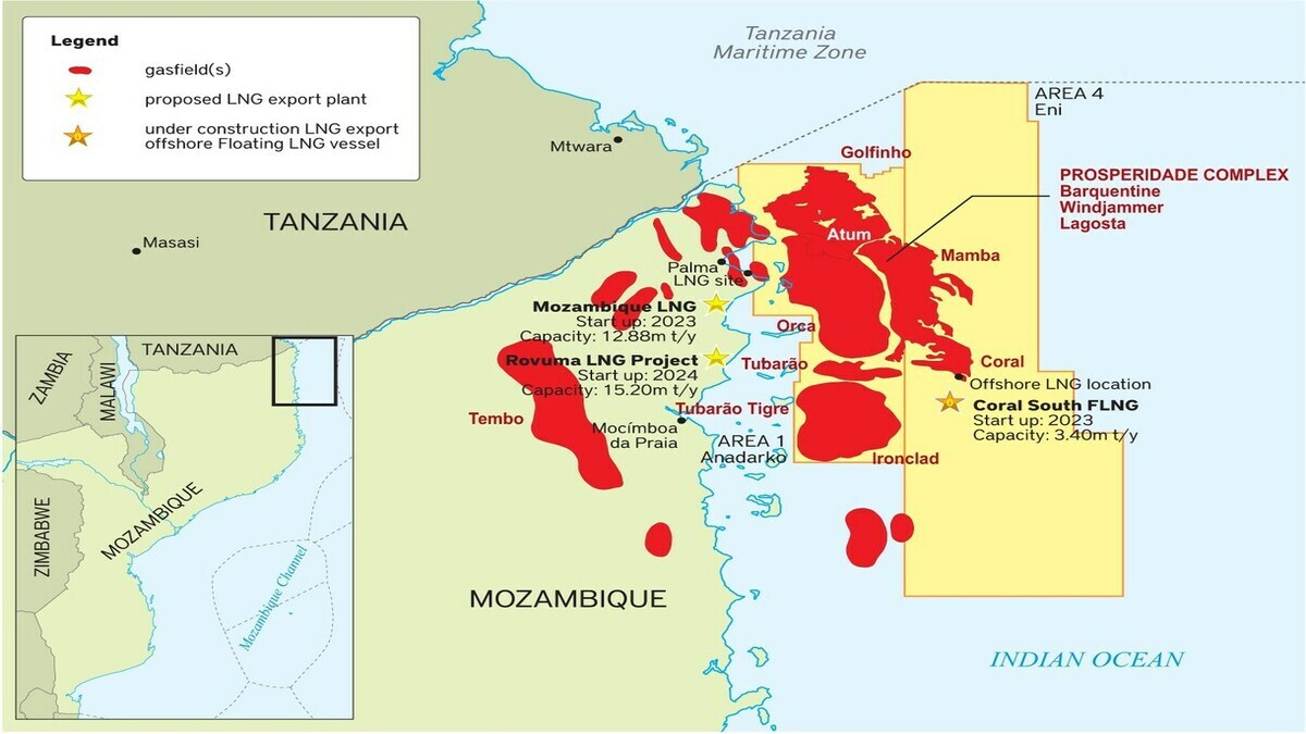 Mozambique Area 1 and Area 4 map